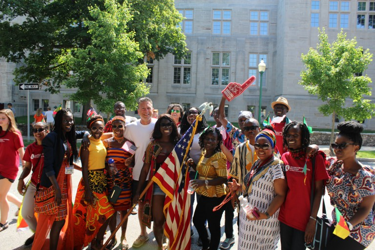 The 2017 Mandela Washington fellows at Independence Day celebrations in Bloomington