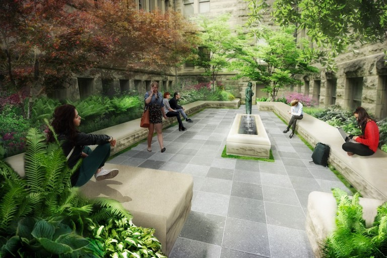 A rendering of the new Maxwell Hall courtyard.