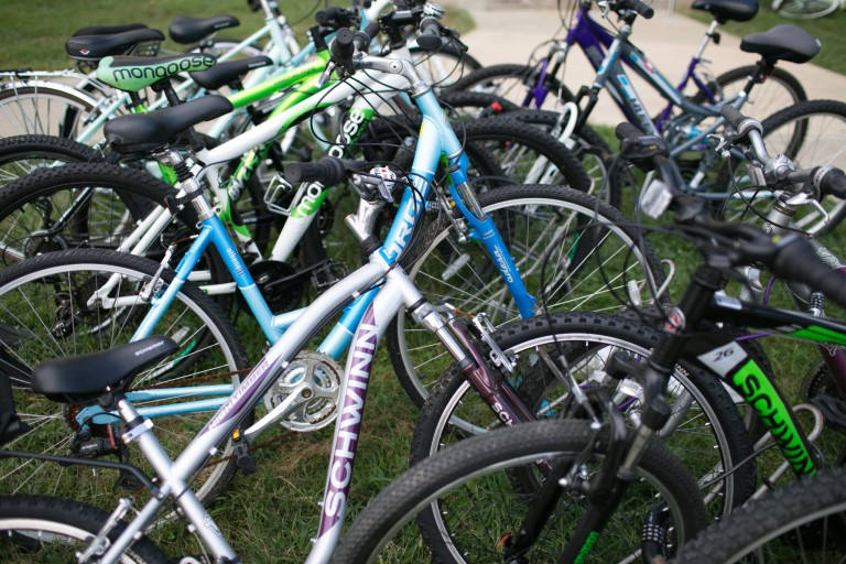 A line of bicycles parked on the IU Bloomington campus.
