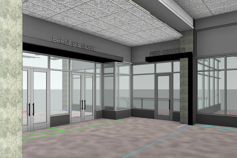 A rendering of the proposed front door of the recreation center next to the Barnes and Noble.