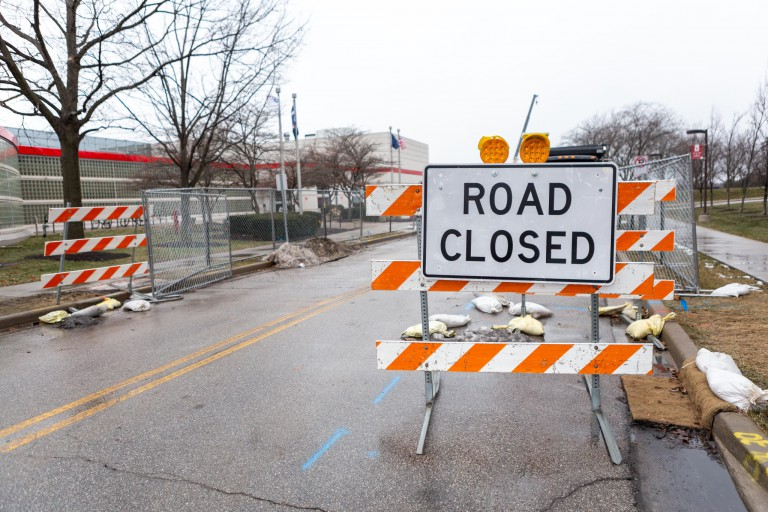 'Road Closed' sign warns of construction