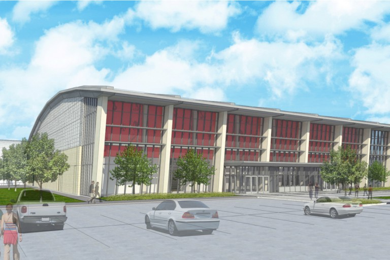 Graphic rendering of the new indoor arena for volleyball and wrestling