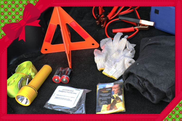 An emergency kit for vehicles inside of a gift frame