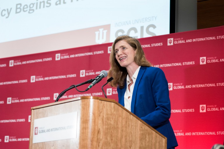 Samantha Power speaks at conference