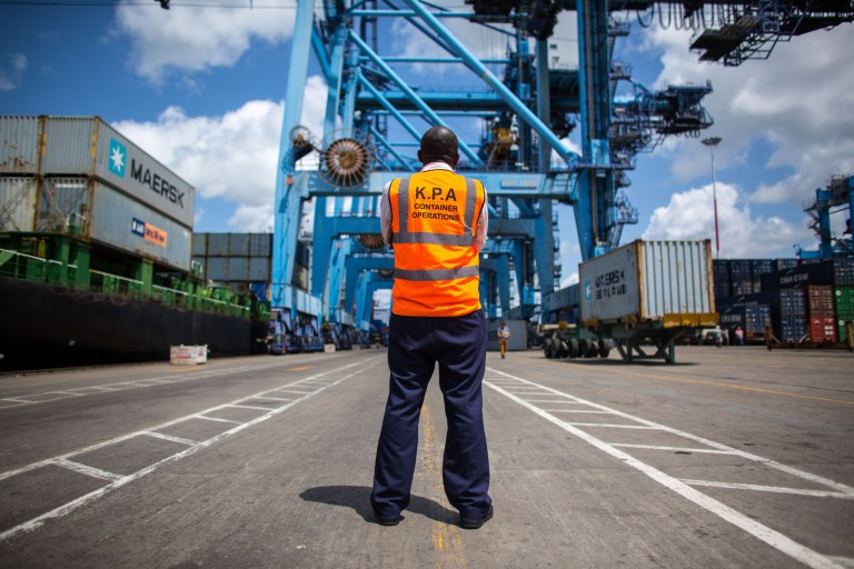 An official overseeing work inside Mombasa Port on Kenya's Indian Ocean coast.