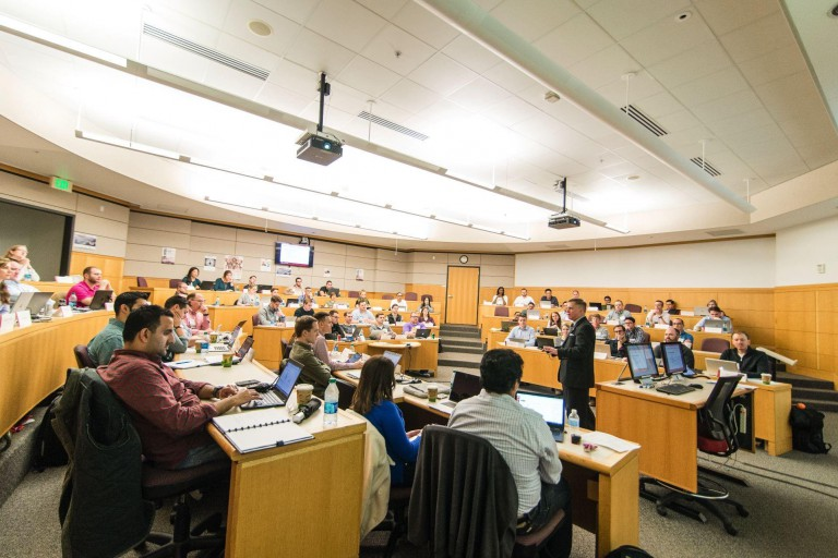 A lecture in the Kelley School of Business