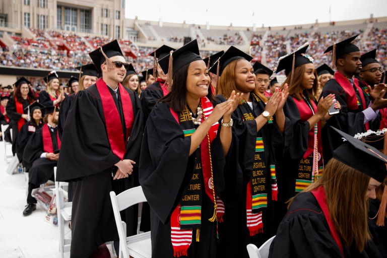 Students participate in the 2018 spring commencement ceremony