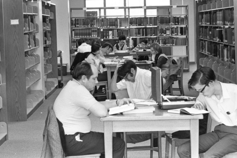 Students study in the old University Library.