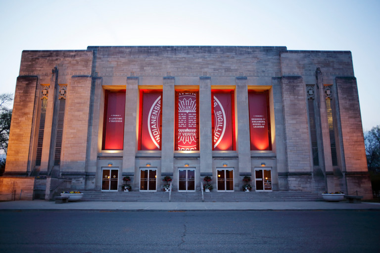 IU Auditorium with the seal banner graphic on the front