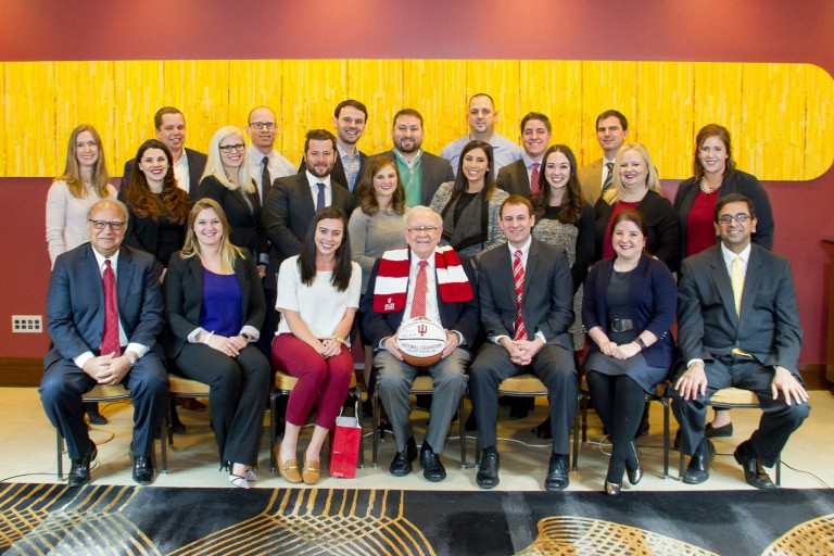 Group photo of Kelley Direct students who met with Warren Buffett