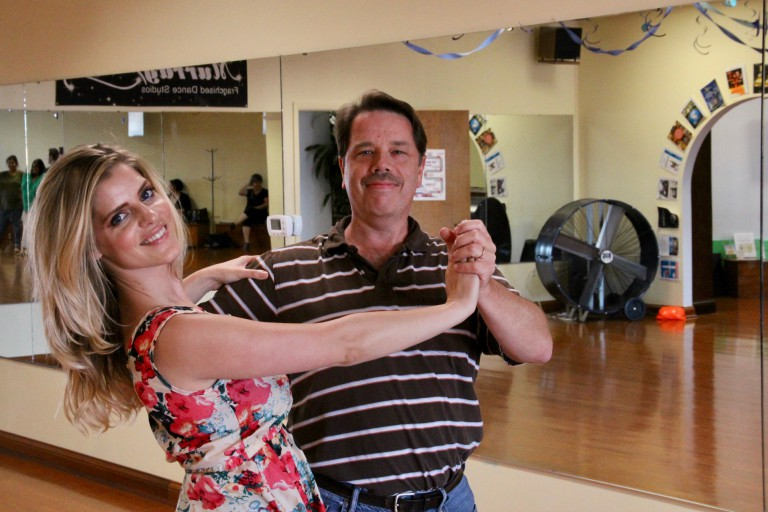Alexander Dent poses with ballroom dance instructor Lollie Henshilwood