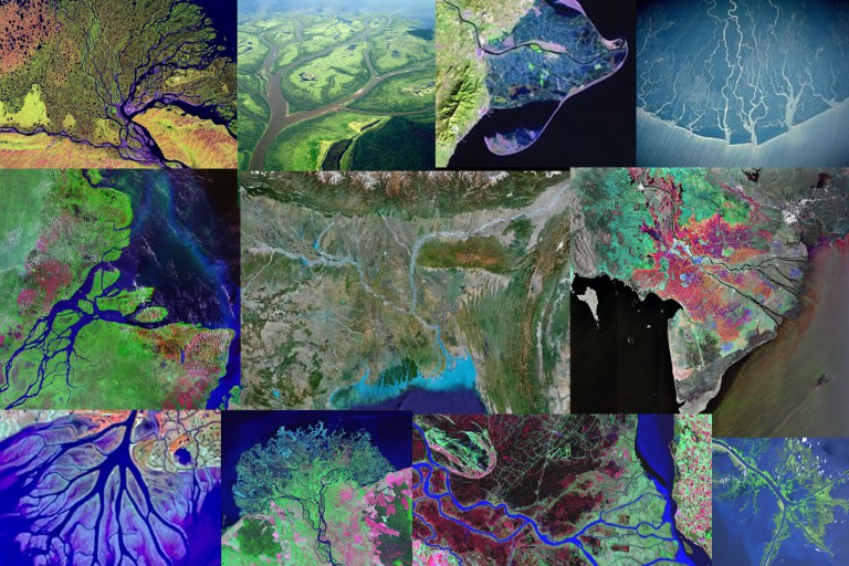 A collage of satellite images of river deltas