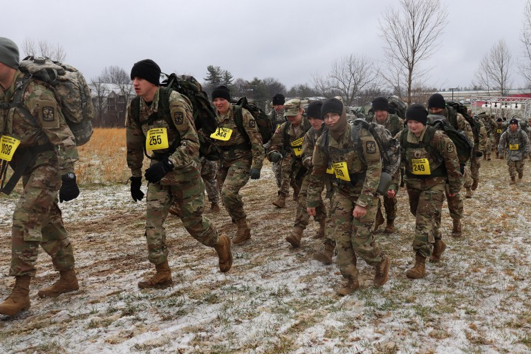 ROTC cadets from IU and throughout the country carry ruck sacks in the competition.