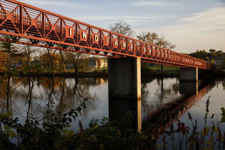 The IU South Bend bridge over the St. Joseph River