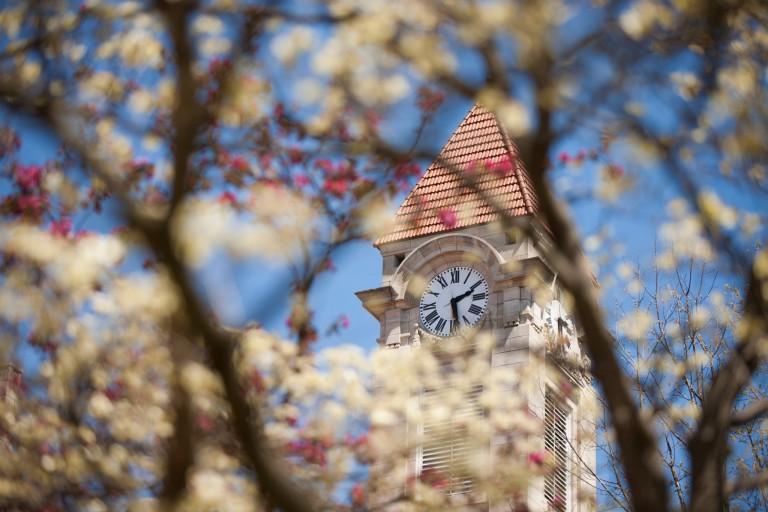IU clocktower with flowers