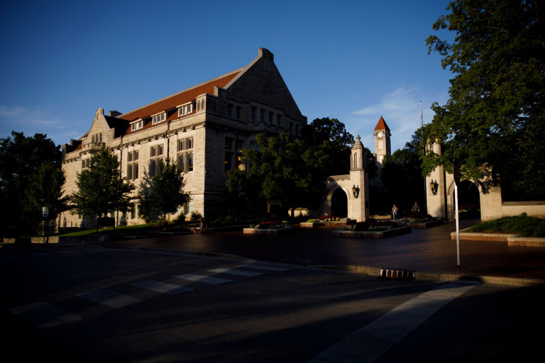 Franklin Hall, the Sample Gates and the Frances Morgan Swain Student Building clocktower
