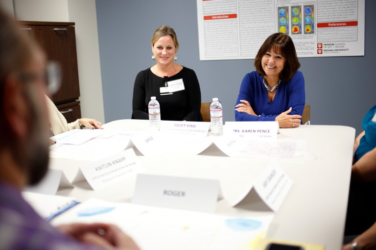 Karen Pence meets with other women during her visit to IUPUI