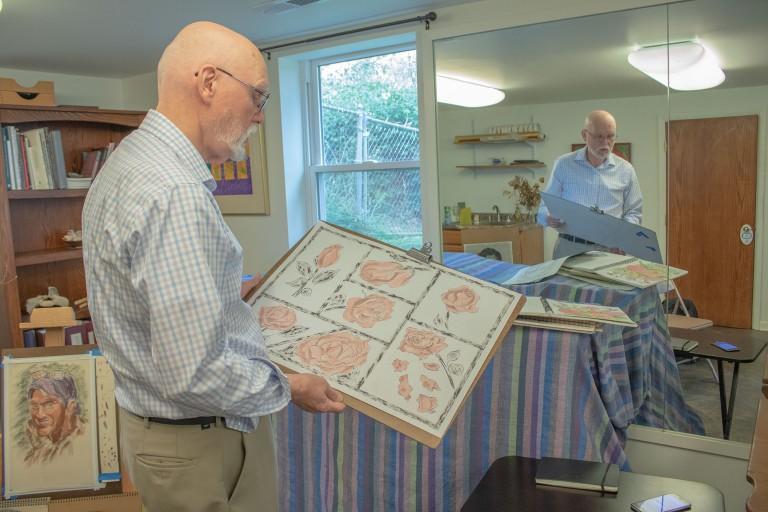 Claude Cookman in his art studio