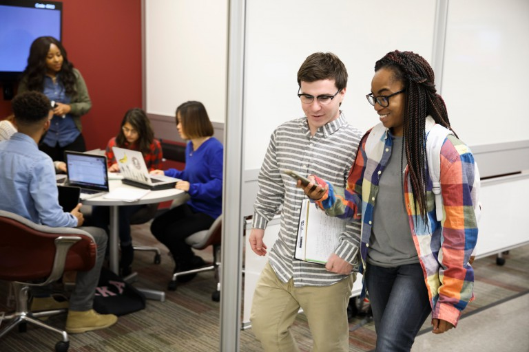 Students use technology on the IU Bloomington campus.