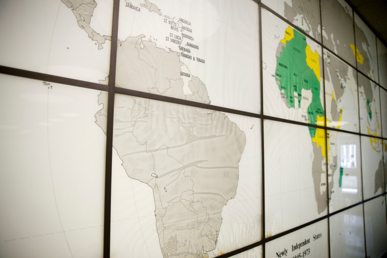 A map of the world in Ballantine Hall