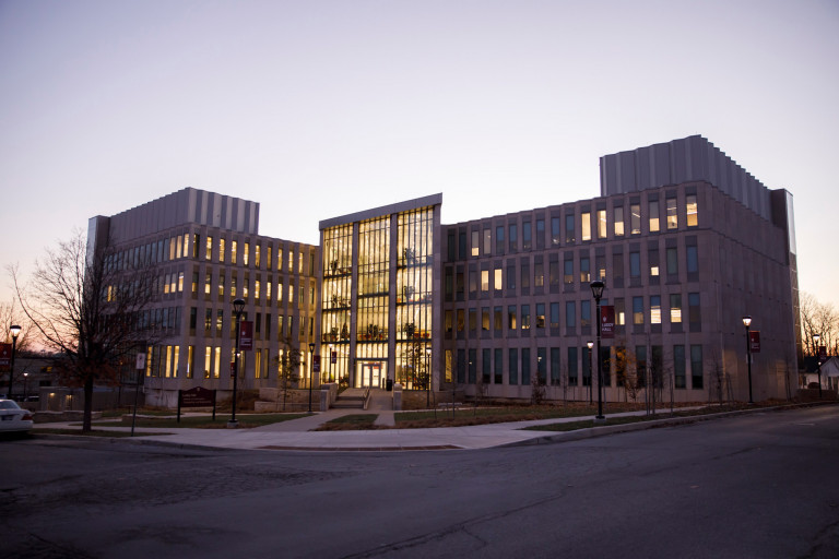 Luddy Hall is pictured on a December evening.