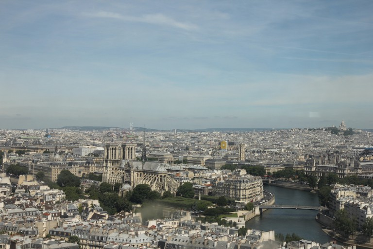 View of the Paris skyline from a top one of the buildings at the Universite Pierre et Marie Curie