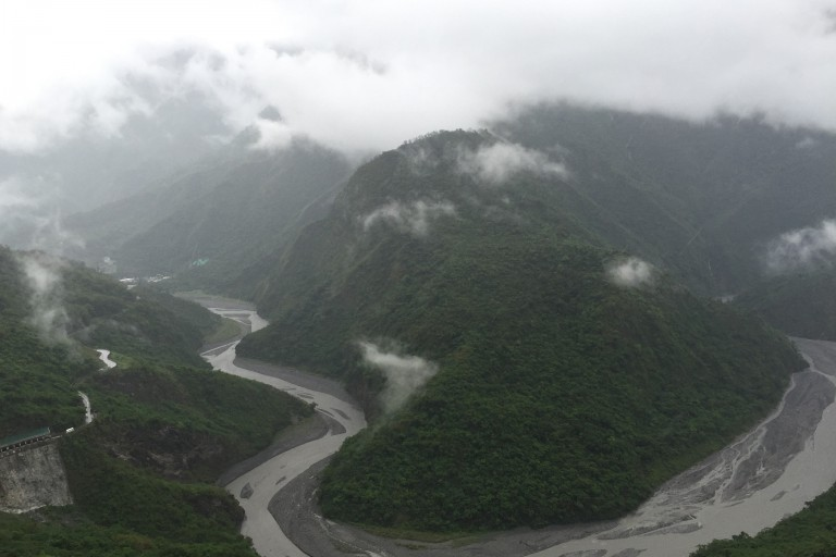 A river cuts a winding path through mountains in southern Taiwan