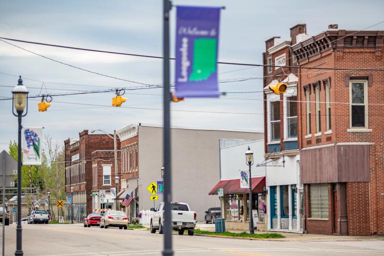 Main street of rural community