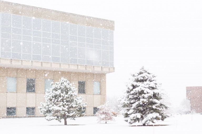 IUPUI Library covered in snow during a snowfall.