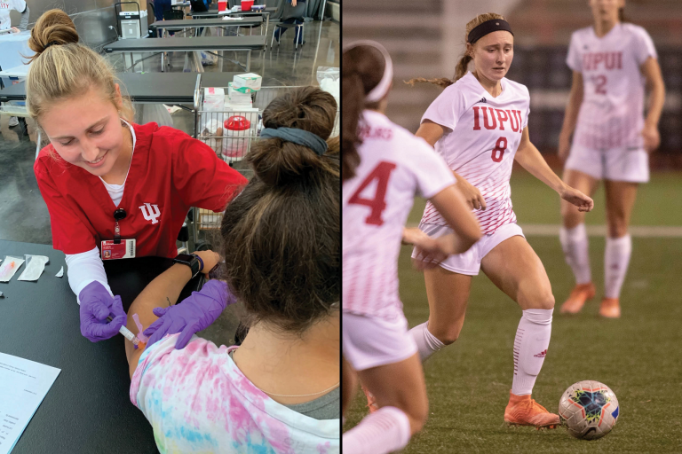 Image of student giving a person an injection next to image of her playing soccer