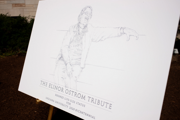 A sketch of the Elinor Ostrom statue