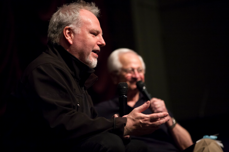 Canadian filmmaker Guy Maddin speaks with IU Professor Emeritus James Naremore at IU Cinema.