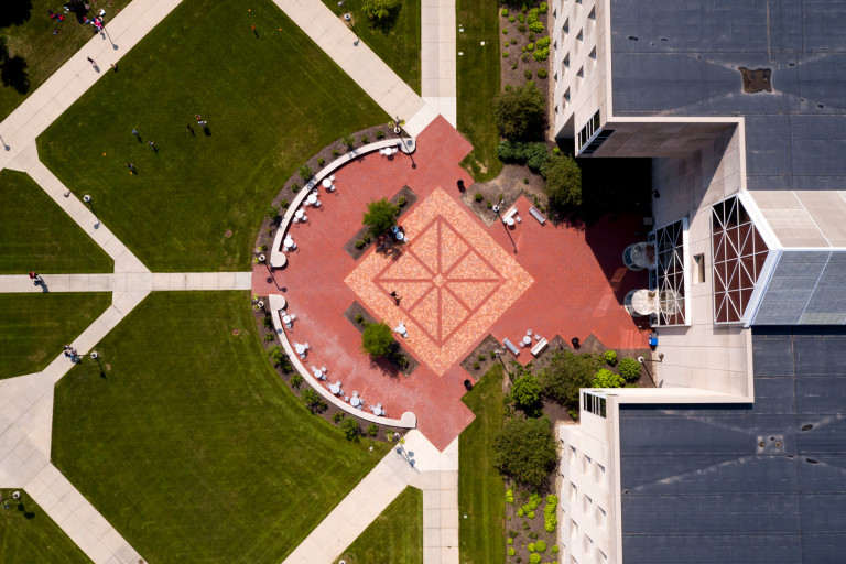 An aerial view of a plaza near IUPUI's University Library