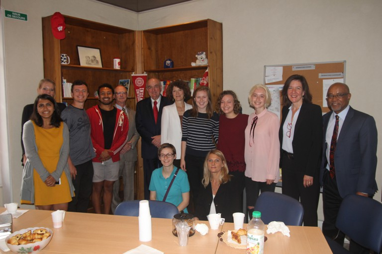 The IU delegation with students from the Aix-en-Provence Program in France