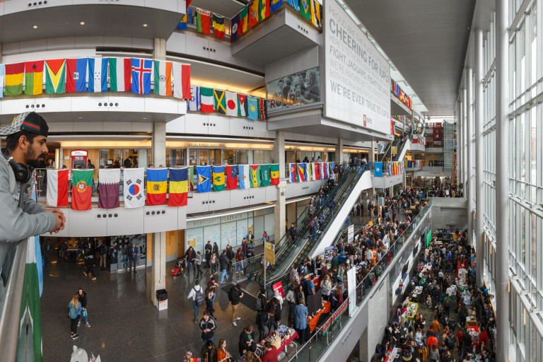 The Campus Center is abuzz with excitement and activity for the 2020 IUPUI International Festival.
