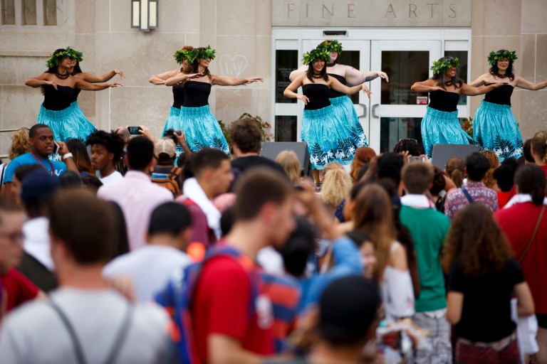Indy Hula performs during the 2017 CultureFest at the Fine Arts Plaza