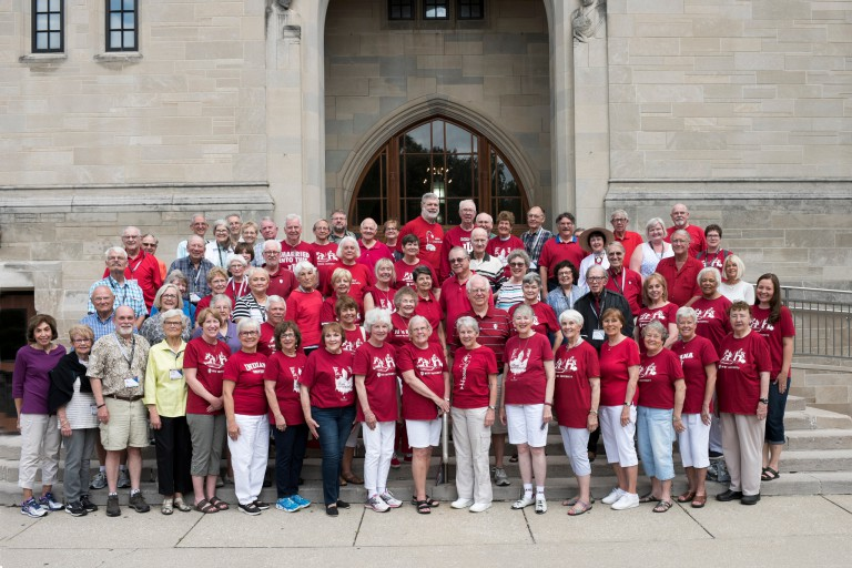 A crowd gathered in front of the Indiana Memorial Union to celebrate the 46th annual Mini University