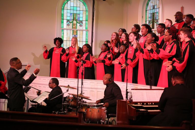 Raymond Wise conducts the African American Choral Ensemble