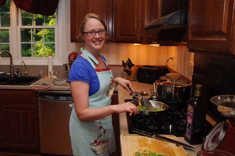 Registered dietitian Katie Shepherd cooks vegetables