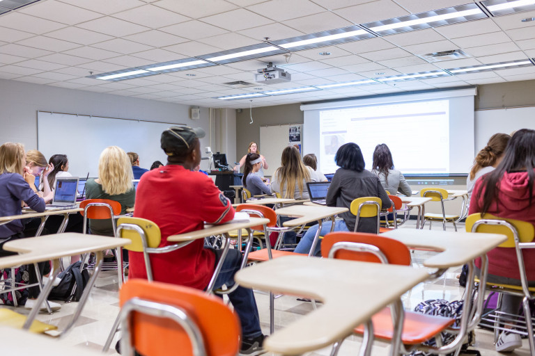 Students in a classroom at IUPUI