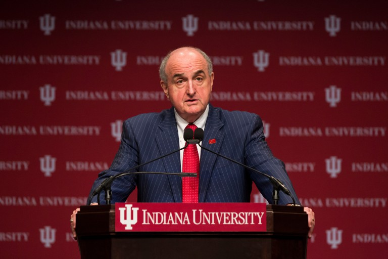 IU President Michael A. McRobbie stands at a podium