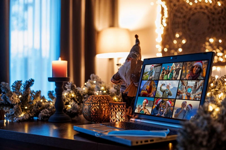 An open laptop amidst Christmas decorations shows a virtual holiday gathering.