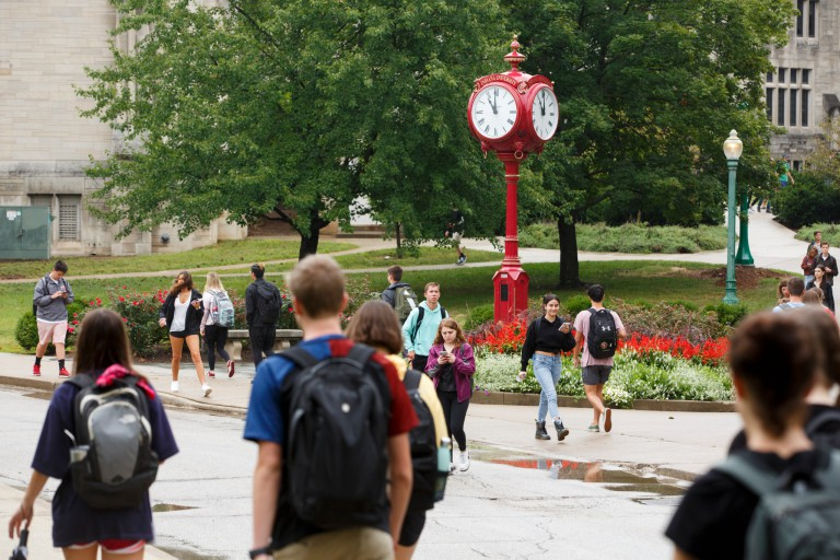 Students walk on the Bloomington campus