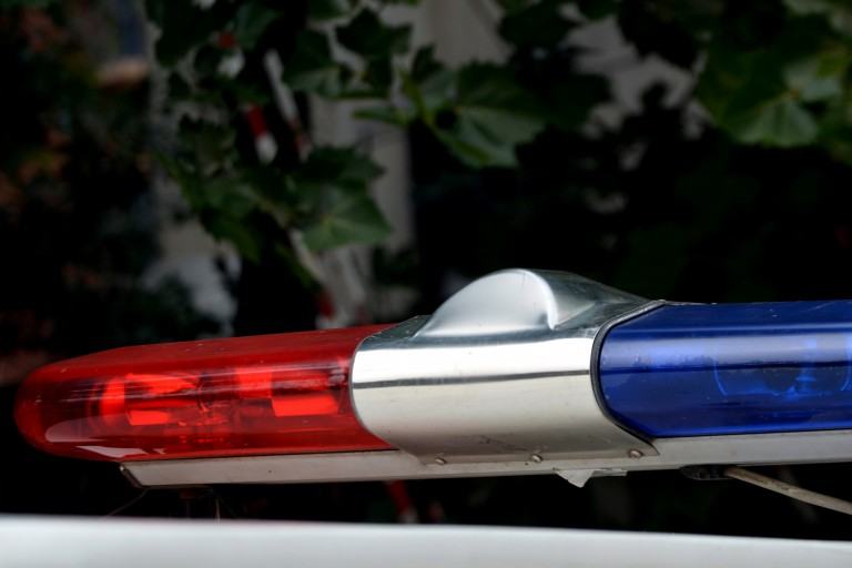 police lights on patrol car