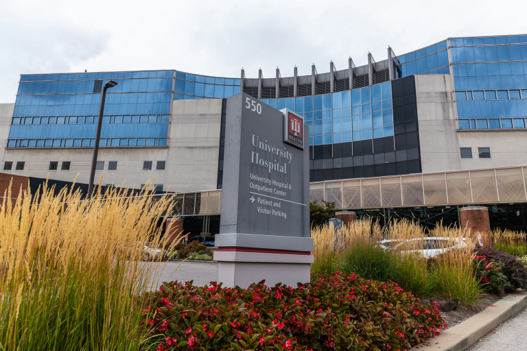 IU Health University Hospital main entrance
