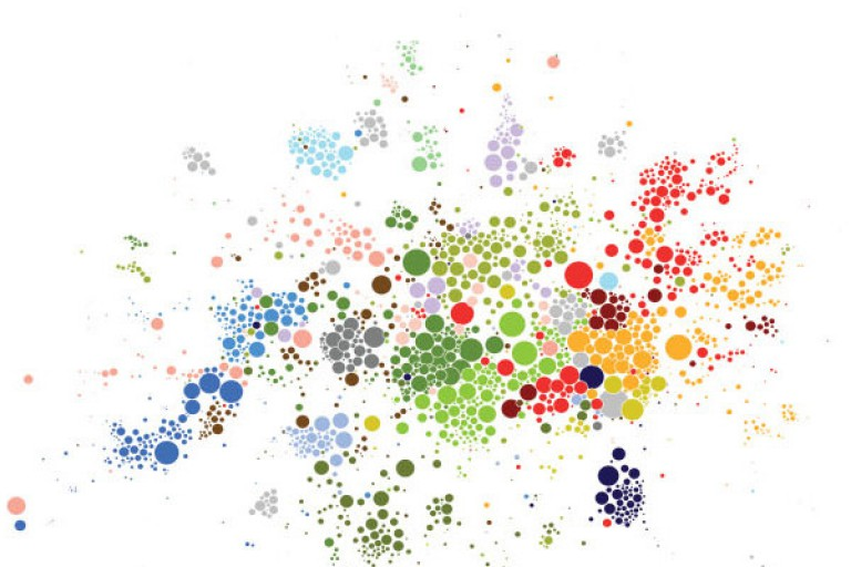 Small, colorful circles in variable patterns that represent data points in the study.