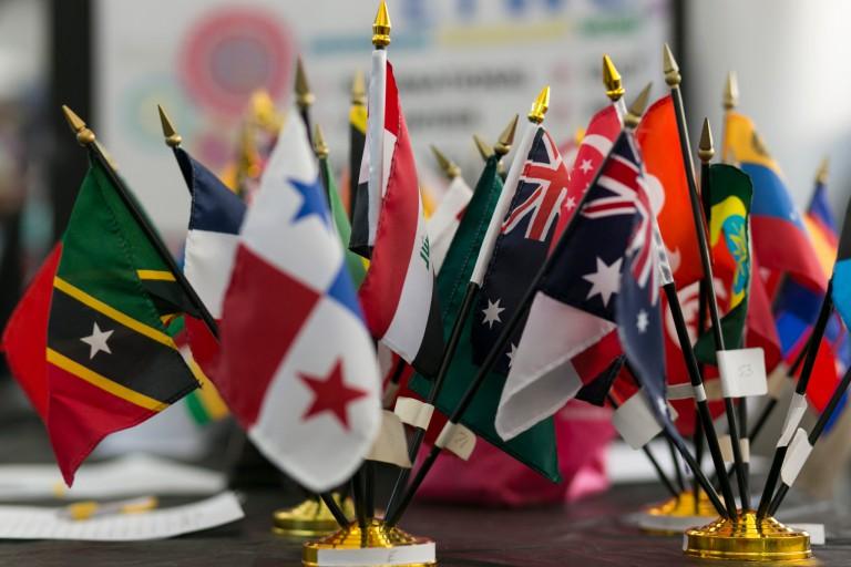 A series of international flags