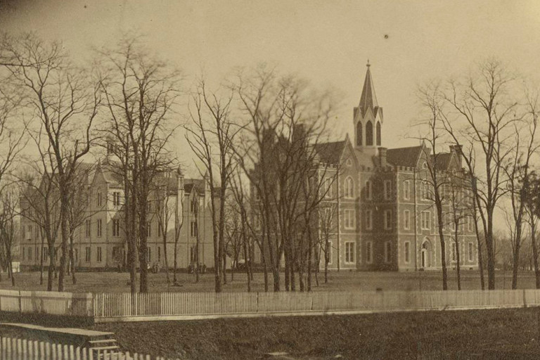 Seminary Square with the Old College Building at left, Science Hall at the right