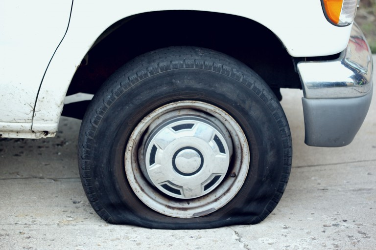 A car with a flat tire