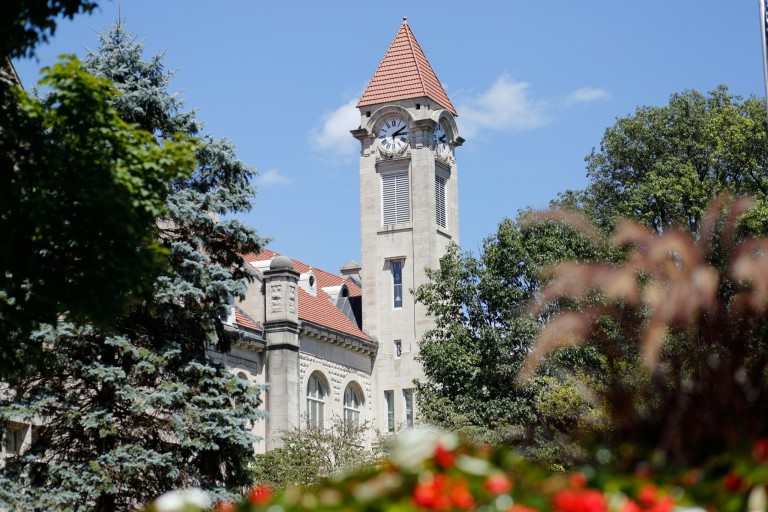 The student building clock tower at IU Bloomington